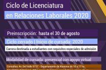 Preinscripción para Ciclo de Licenciatura en Relaciones Laborales 2020