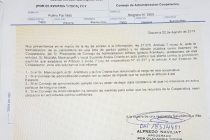 El POT envío carta documento al consejo de administración de coopelectric