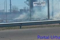 Incendio de pastizales en Circunvalación y Colón