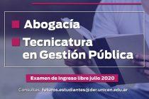 Ingreso 2020 en Abogacía y Tecnicatura en Gestión Pública en Azul: examen de ingreso libre julio 2020