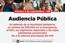 Audiencia Pública en el Congreso de la Nación el 4 de septiembre a las 15 hs